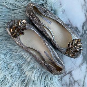 Vera wang lavender label Peep toe metallic Flat